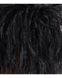 Robe longue en crêpe de soie mélangée à plumes Elie Saab en coloris Black