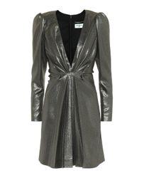 Vestido corto metálico de seda Saint Laurent de color Metallic