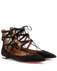 Aquazzura Black Belgravia Lattice Suede Flat