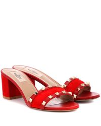 Valentino - Red Rockstud Suede Mules - Lyst