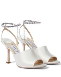 Jimmy Choo White Sae 90 Embellished Satin Sandals