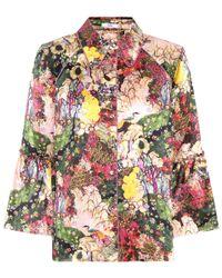 Erdem Multicolor Aran Floral-printed Silk Top