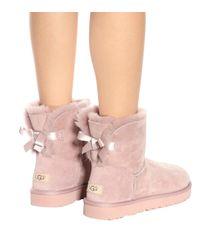 Ugg Pink Mini Bailey Bow Ii Suede Boots