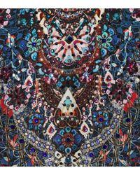 Camilla Blue Embellished Printed Silk Dress