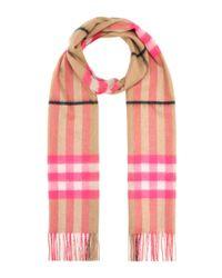 Burberry Pink Karierter Schal aus Cashmere