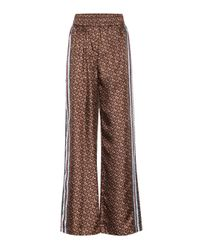Pantalones Monogram de seda anchos Burberry de color Brown