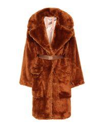 Manteau ceinturé en fourrure synthétique N°21 en coloris Brown