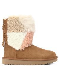 Ugg Brown Ankle Boots Classic Short Patchwork