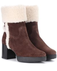 Tod's Brown Ankle Boots aus Veloursleder