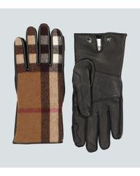 Burberry Handschuhe aus Leder und Wolle in Natural für Herren