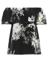 Top en soie imprimée In The Still Of The Night Athena Procopiou en coloris Black