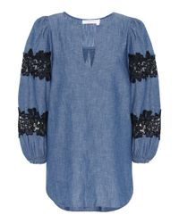 See By Chloé Blue Lace-trimmed Chambray Top
