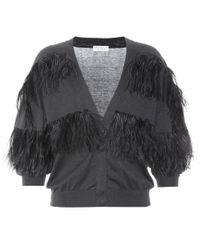 Brunello Cucinelli Gray Feather-trimmed Cotton Cardigan