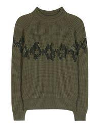 Nina Ricci Green Verzierter Strickpullover aus Wolle
