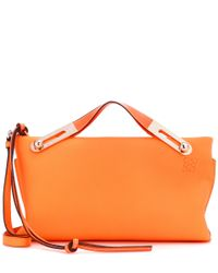 Loewe - Orange Small Missy Textured Leather Clutch - Lyst