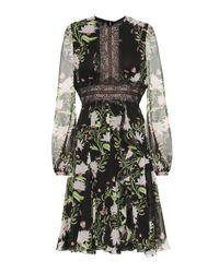 Robe imprimée en soie Giambattista Valli en coloris Black