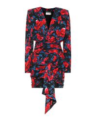 Saint Laurent Red Bedrucktes Minikleid aus Seide