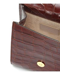 By Far Brown Ball Croc-effect Leather Clutch