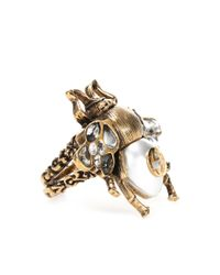 Gucci - Metallic Embellished Bee Ring - Lyst
