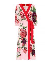 Dolce & Gabbana Red Kimonokleid aus Stretch-Seide