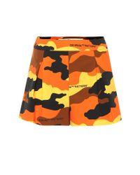 Shorts a stampa in cotone di Off-White c/o Virgil Abloh in Orange