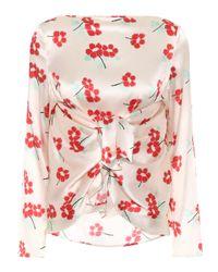 Blusa Judy de seda floral BERNADETTE de color Natural