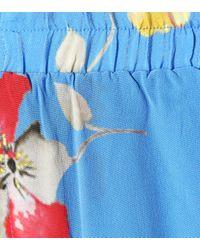 Ganni Blue Bedruckte Seidenhose Joycedale
