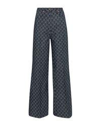 Jean ample GG en jacquard de coton Gucci en coloris Blue