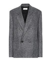 Saint Laurent Gray Checked Wool-blend Blazer