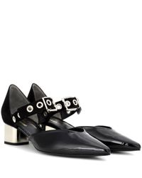 Self-Portrait - Black X Robert Clergerie Sasa Patent Leather And Suede Pumps - Lyst