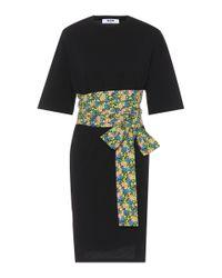 MSGM Black Cotton Midi Dress