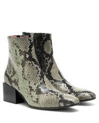 Acne Green Stiefel mit Schlangen-Print