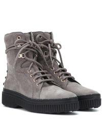 Tod's Gray Ankle Boots aus Veloursleder