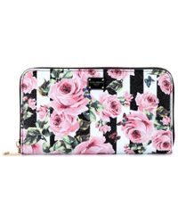 Dolce & Gabbana Pink Floral-printed Leather Wallet