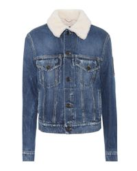 Giacca di jeans con shearling di Saint Laurent in Blue