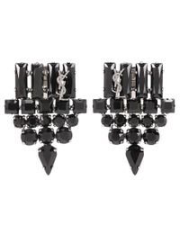 Saint Laurent | Black Crystal-embellished Clip-on Earrings | Lyst