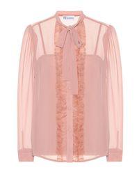 RED Valentino Pink Semitransparente Bluse mit Rüschen