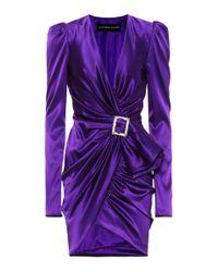 Vestido corto con hebilla de cristales Alexandre Vauthier de color Purple