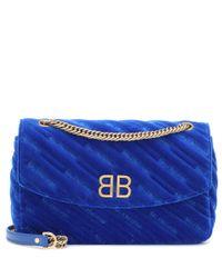 Balenciaga Blue Schultertasche BB Round S