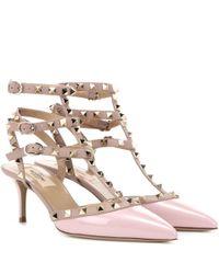 Valentino - Pink Garavani Rockstud Patent Leather Pumps - Lyst