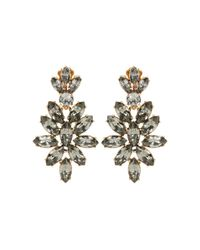 Oscar de la Renta Gray Gold-Plated Crystal Clip Earrings