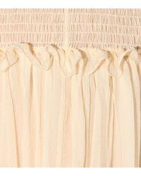 Chloé Natural Kleid aus Seidenkrepon mit Rüschen