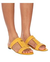 Tod's Yellow Croc-embossed Leather Sandals