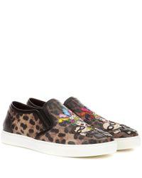 Dolce & Gabbana Brown Slip-on-Sneakers mit Print und Applikationen