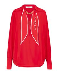 Givenchy Red Chain-trimmed Silk Blouse