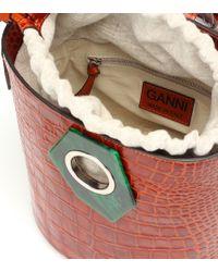 Secchiello in pelle stampata di Ganni in Multicolor