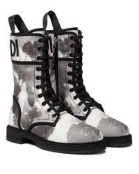 Fendi Gray Ankle Boots Signature aus Canvas