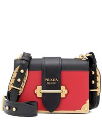 Prada Red Cahier Leather Shoulder Bag