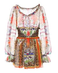 Top en soie imprimée Dolce & Gabbana en coloris Multicolor