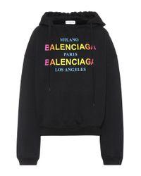 Balenciaga Black Printed Cotton Hoodie